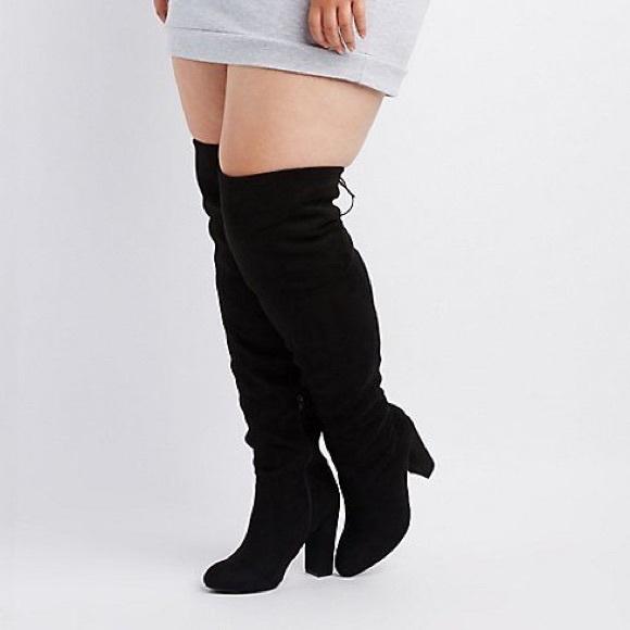 pretty cool elegant shoes designer fashion Black Thigh High Boots - Wide